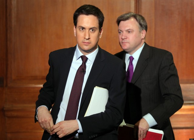 Labour Leader Ed Miliband And Shadow Chancellor Ed Balls Speak At Monthly Labour Press Conference
