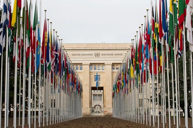 "The flags of  the193 member states are back after the renovation of the ""Allée des Drapeaux"" at the Palais des Nations. 7 February 2014. UN Photo / Jean-Marc Ferré"